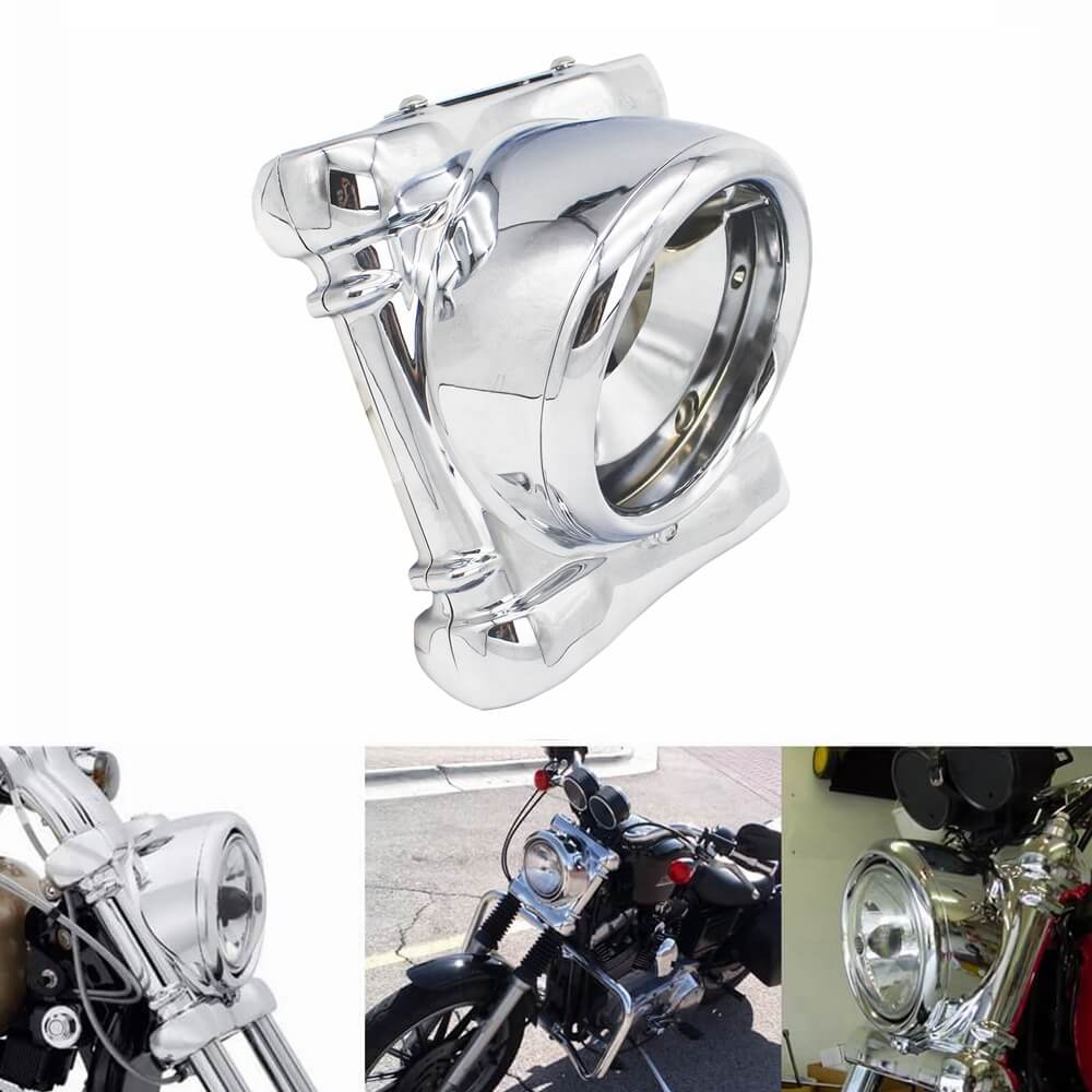 Chrome Headlight Headlamp Surround Cowl Nacelle Kit For Harley Dyna '94-'05 FXD FXDC FXDX 67971-04 1960's FL vintage style Light Bucket Housing - pazoma