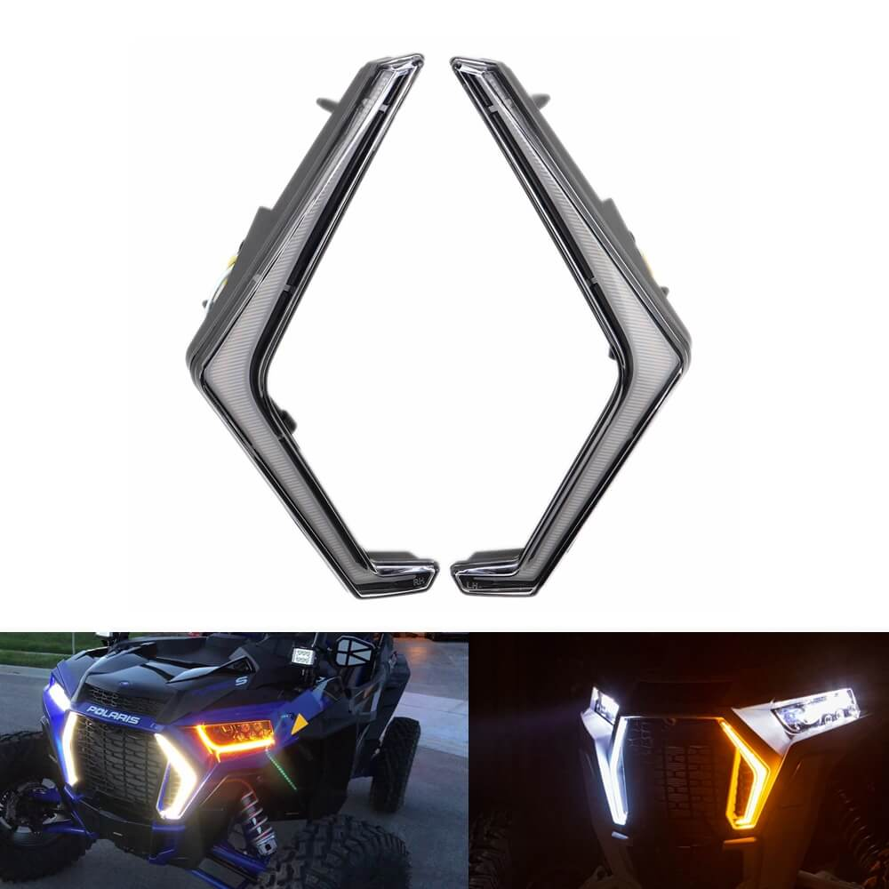 "Polaris RZR XP Turbo 4 Turbo XP 1000 4 1000 Front LED Turn Signal Light ""FANG"" Signature Accent Light Kit 2019+ 2414087 2414088 - pazoma"