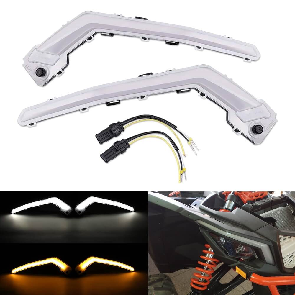 Can-Am Maverick X3 XDS XRS Max Turbo R LED Front Driver Signature Light Set DRL with Sequential Flowing Amber Turn Signal - pazoma