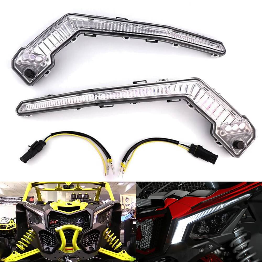 Can-Am Maverick X3 XDS XRS Max R LED Turn Signal Kit w/ Signature Lights Amber Accent Marker Corner Blinder Pair Running DRL 710004994 710004995 - pazoma