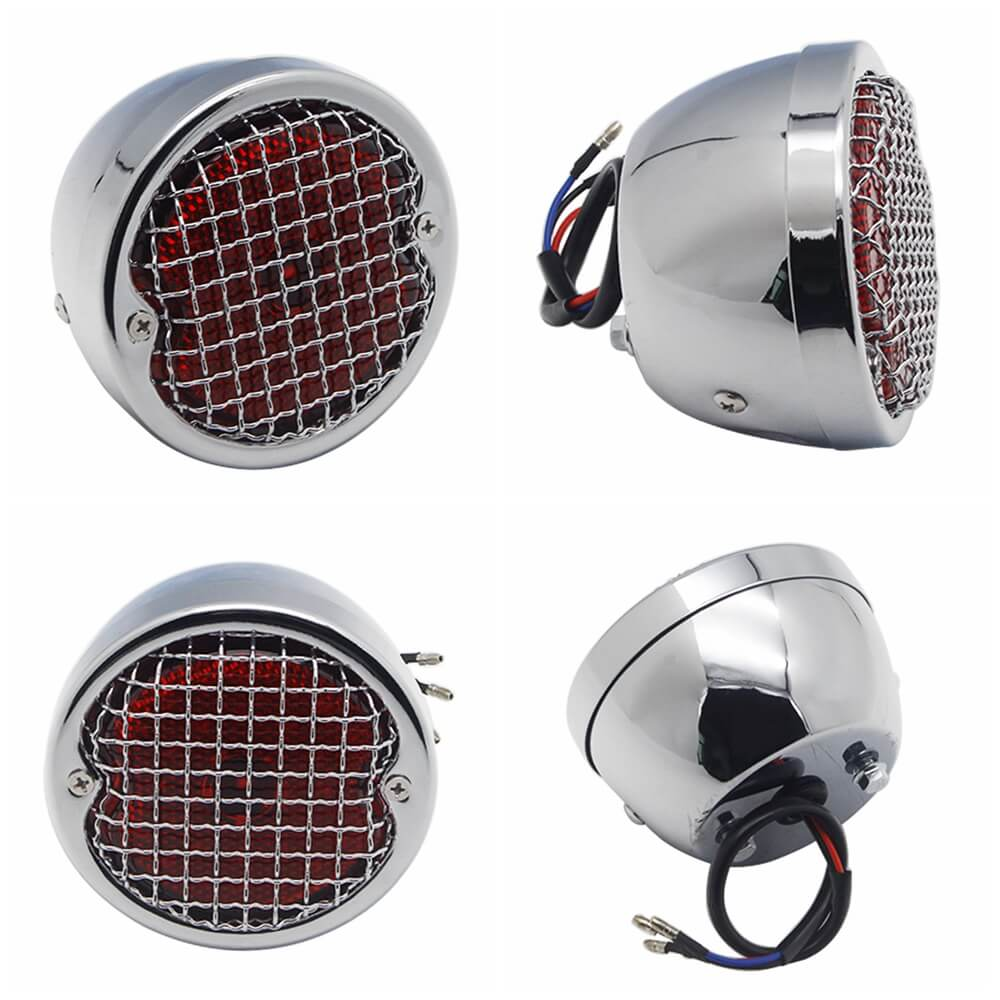 Grid Style Retro Motorcycle 12V LED Taillight W/License Light For Harley Chopper Cafe Racer Bobber Custom Brake Stop Tail Light - pazoma