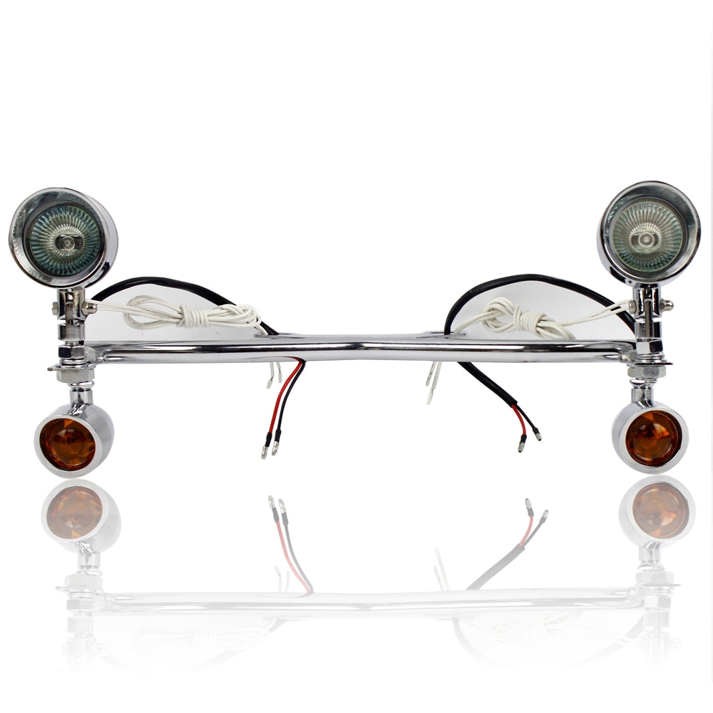 Motorcycle Chrome Universal Driving Passing Turn Signal Auxiliary Spot Fog Lights Bar - pazoma