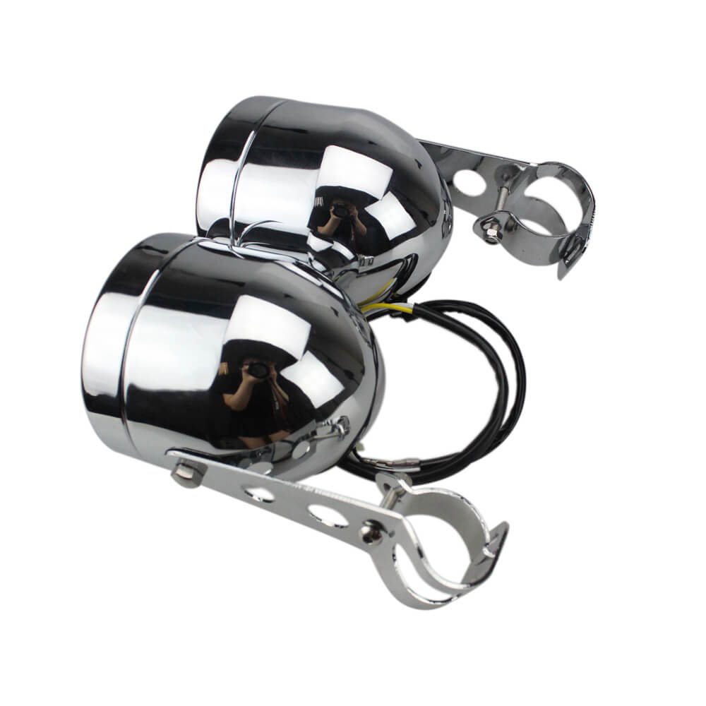 Black Twin Front Headlight W/ Bracket For Harley Dual Sport Motorcycle Street Fighter Cafe Racer Old School Chrome - pazoma