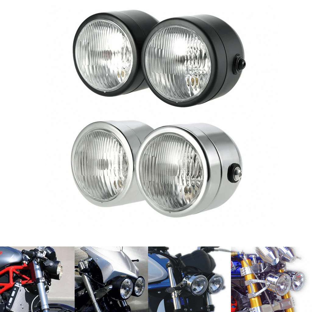 Motorcycle Universal Streetfighter Twin Round Dominator Headlights Double Dual Lamp Front Headlamp for Harley Cafe Racer Chopper Bobber SV650 - pazoma