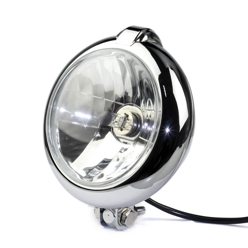 "Pazoma Chrome Classic Vintage Unity 4"" Head Light Lamp Motorcycle H4 Headlights for Harley Bobber Chopper Custom - pazoma"