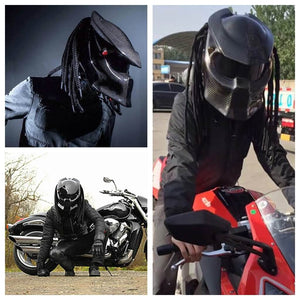 Predator Carbon Fiber Motorcycle Helmet Full Face Iron Warrior Man Helmets Casco De Moto Motociclista Depredador DOT Safety Certification - pazoma