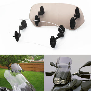 Motorcycle Universal Risen Adjustable Windscreen Visor Kit Windshield Spoiler Air Deflector for BMW F800 R1200GS KAWASAKI YAMAHA Honda KTM - pazoma