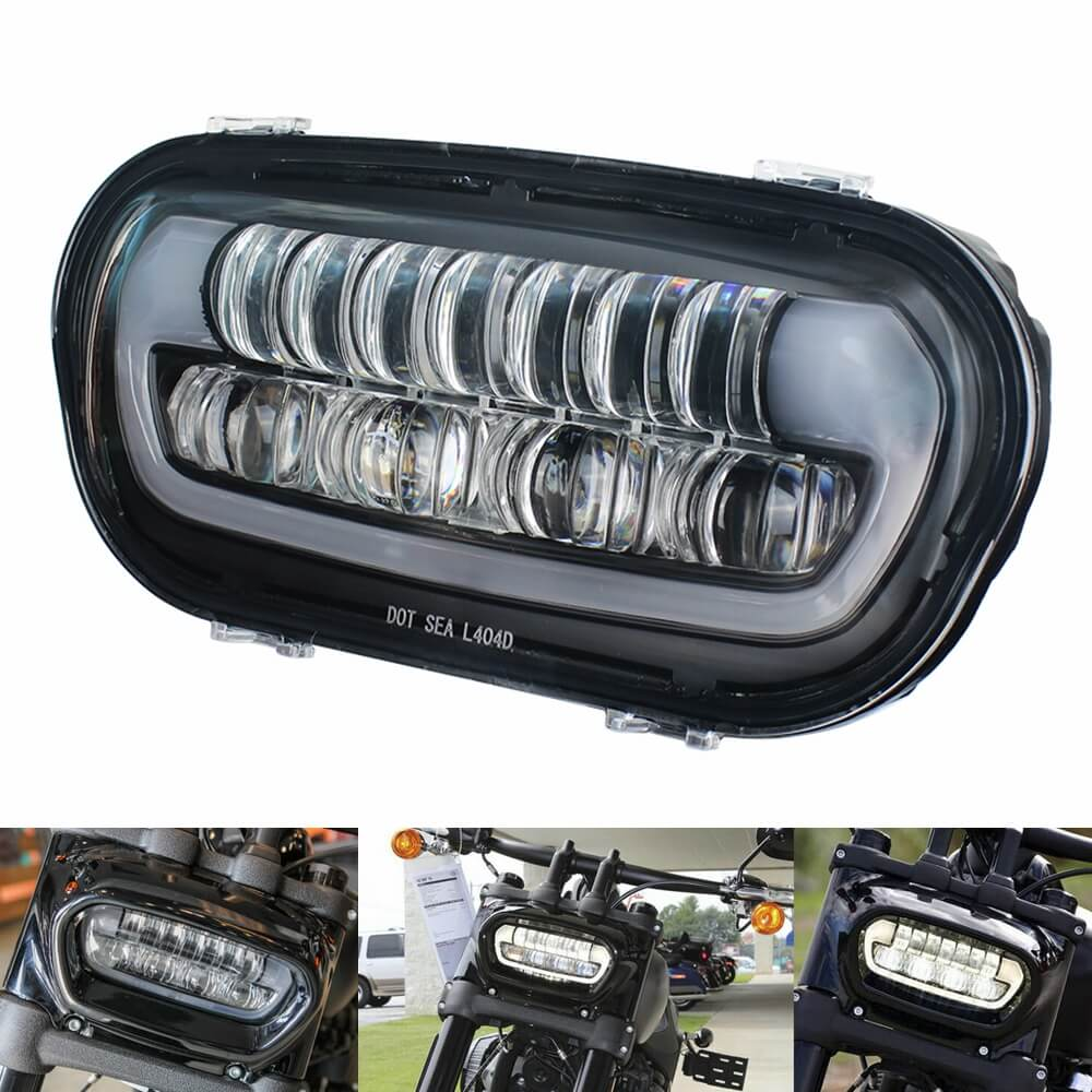 Harley Fat Bob 114 FXFB FXFBS 9.8 Inch LED Headlight Projector Headlamp W/ White DRL Daylight Running Light High/Low Beam Head Lamp Softail 2018-2020 - pazoma