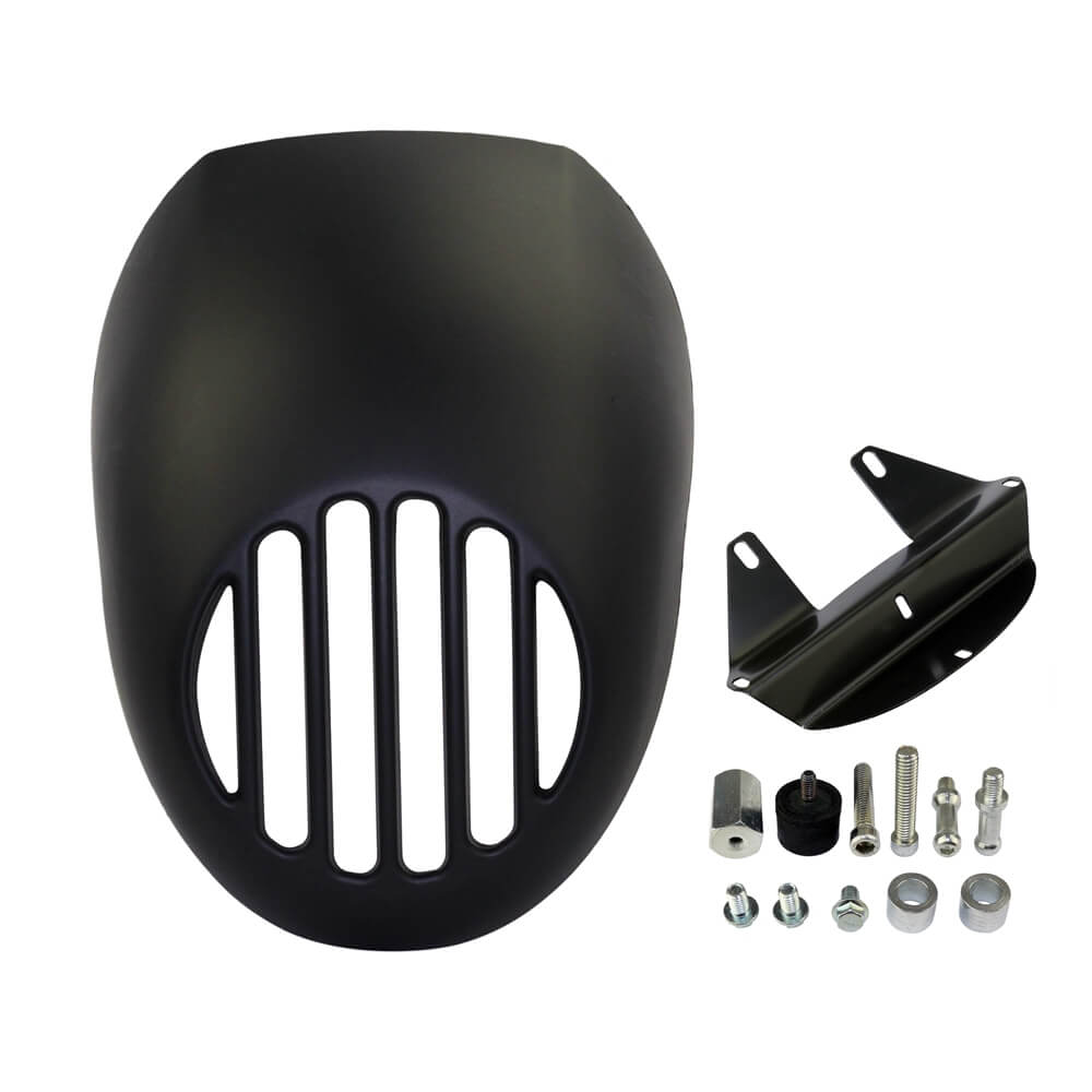 Harley Sportster 883 1200 FX XL Dyna Cafe Headlight Fairing Grill Cover W/ Black Visor Bracket Front Fork Mount Fit - pazoma