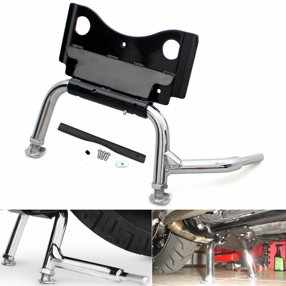 Harley Touring 2009-2020 Adjustable Chrome Center Stand #91573-09A Replacement Road King FLHR Glide FLHT - pazoma