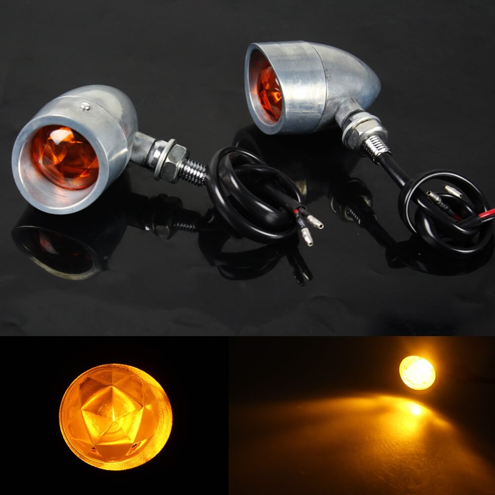2pcs Heavy Duty Motorcycle Bullet Amber Turn Signals Bulb Indicators Blinkers Lights For Harley Cafe Racer Chopper Bobber Custom Bike - pazoma
