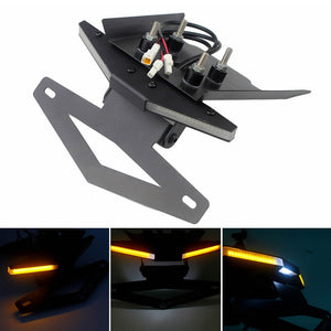 KTM 390 125 250 Duke 2017-2019 LED Tail Tidy Stealth Fender Eliminator Kit Integrated Turn Signals License Plate Light Bracket - pazoma