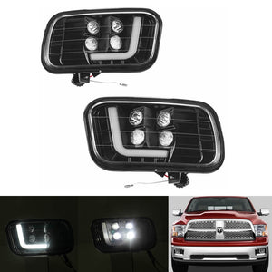 Dodge Ram 1500/2500/3500 09-12 LED Fog Light with Daytime Running Lights Spot Flood Driving Fog Lamps L-type DRL Replacement 2009 2010 2011 2012 - pazoma