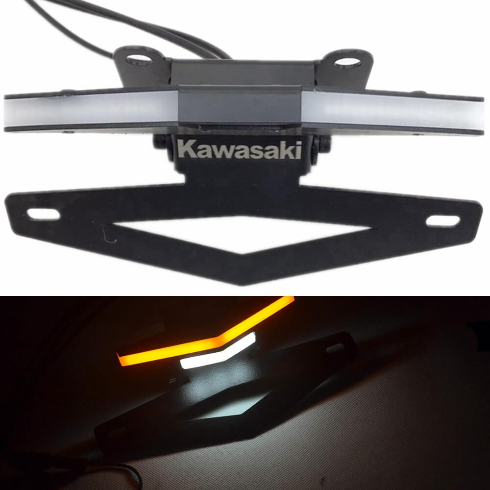 LED Tail Tidy Stealth Fender Eliminator Kit Integrated Turn Signals License Plate Light Bracket For Kawasaki Z1000 2010-2019 - pazoma