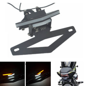 Kawasaki Z900 2017 LED Tail Tidy Stealth Fender Eliminator Kit Integrated Turn Signals License Plate Light Bracket - pazoma