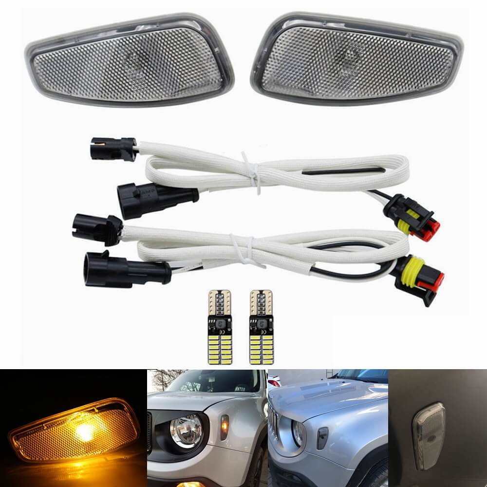 Jeep Renegade 2015-up LED Fender Side Marker Lights Turn Signal Lights Conversion Kit Reflection Warning Lamp - pazoma