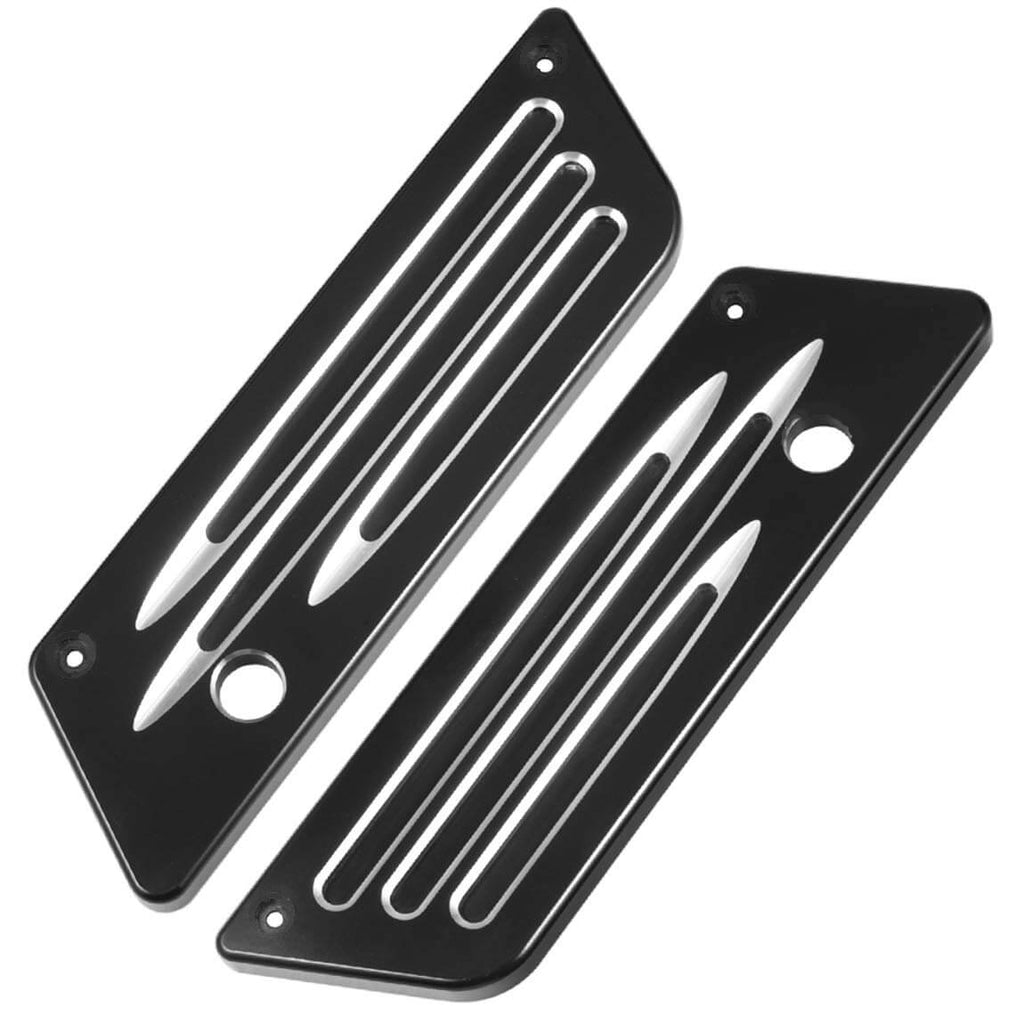 Black Anodized Billet Hard Deep Cut Saddlebag Bags Latch Cover for Harley-Davidson Touring Electra Road Street Glide 1993-2013 - pazoma