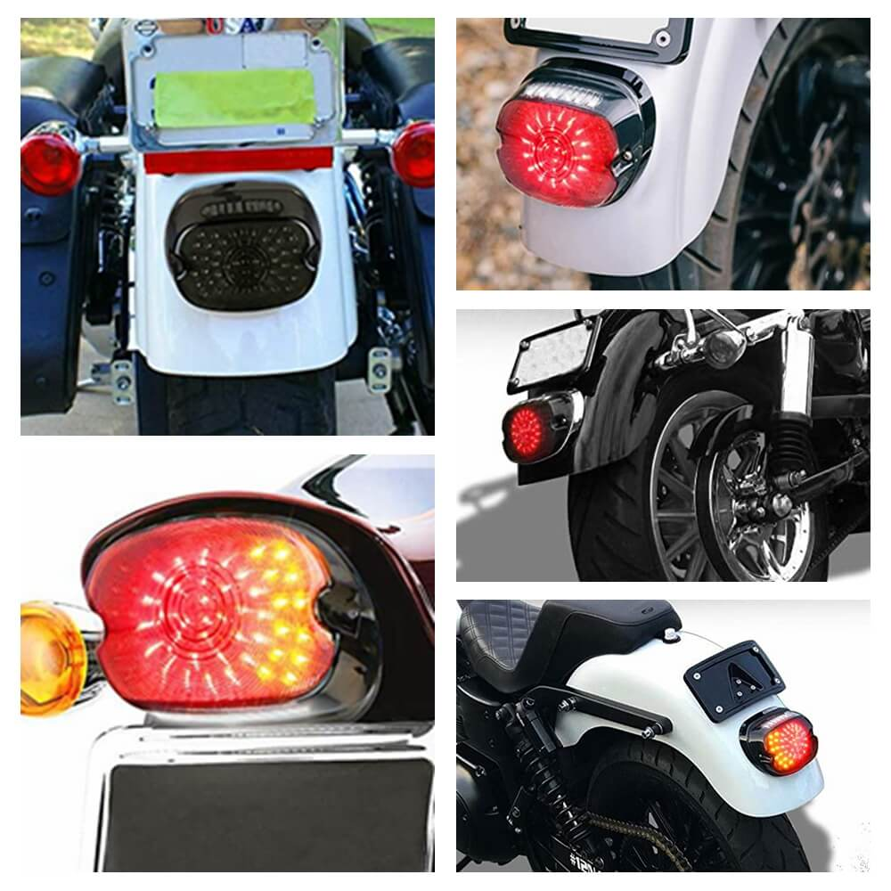 Harley Road King Dyna Glide Softail Sportster LED Taillight w/ Sequential Flowing Turn Signal Rear Tail Brake Light Smoke - pazoma