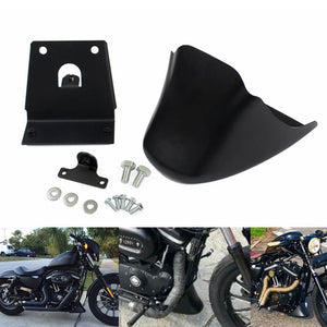 Harley Sportster XL Iron 883 1200 Lower Front Bottom Spoiler Mudguard Air Dam Chin Fairing Black 2004-2020 - pazoma