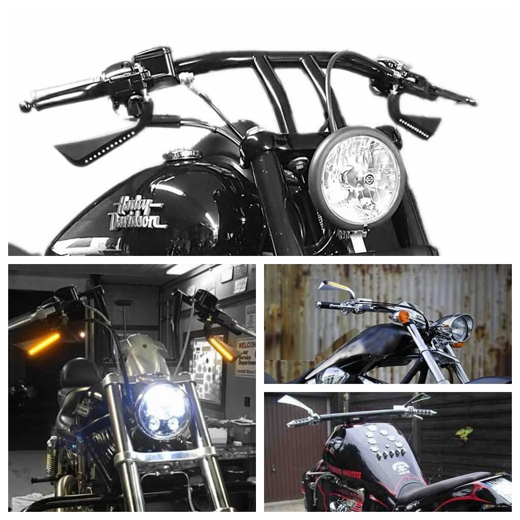 Harley Axe Rearview Mirror w/LED Turn Signals Sequential Light Aluminum Dyna V-Rod Road King FLHT Electraglide forTY-EIGHT 48 Sportster XL - pazoma