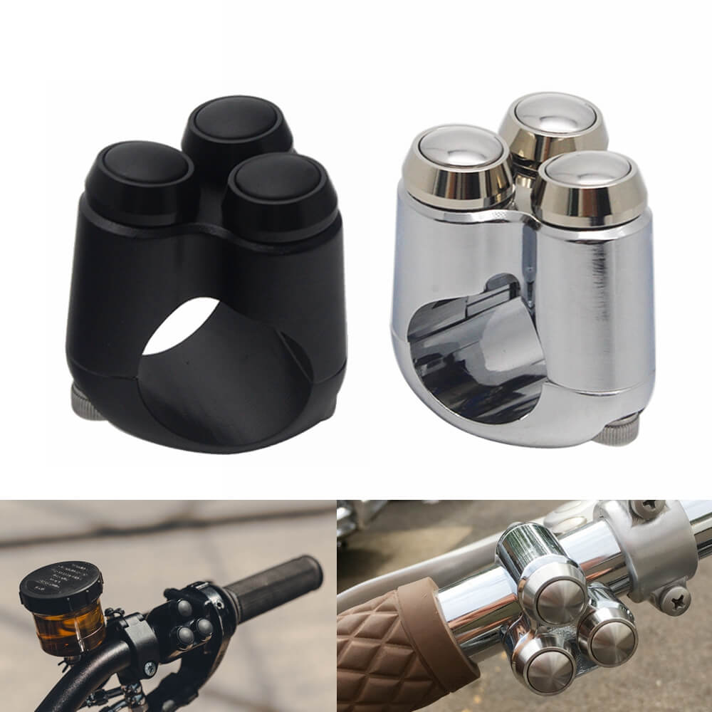 Aluminum Alloy CNC Motorcycle Switches 3-Button Control Momentary 1 Inch 25.4mm Handlebar M-Switch Start Kill Horn Reset Button Microswitch - pazoma