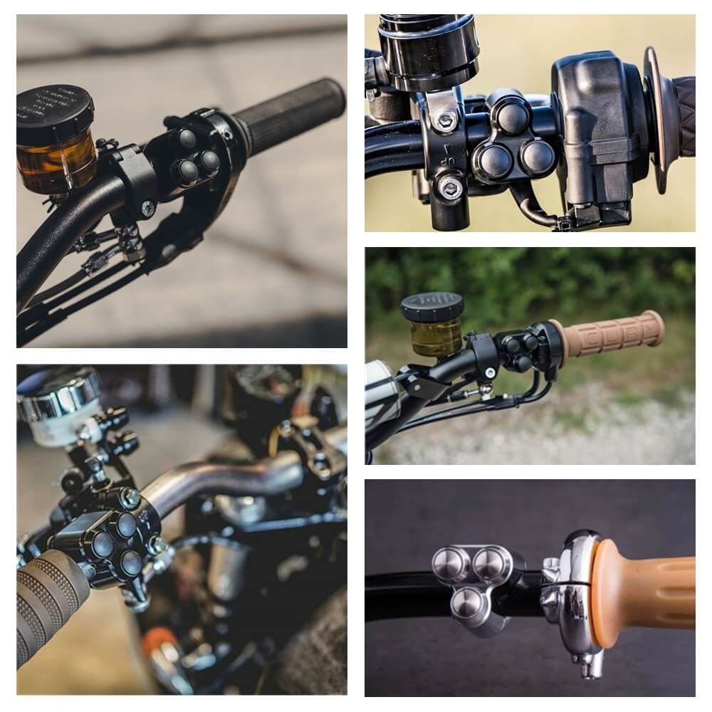 "Motorcycle Custom Triple Button Microswitch Kit 3-Button Control Momentary Handlebar M-Switch 1"" 25.4mm Bars Retro Vintage Bobber Harley - pazoma"