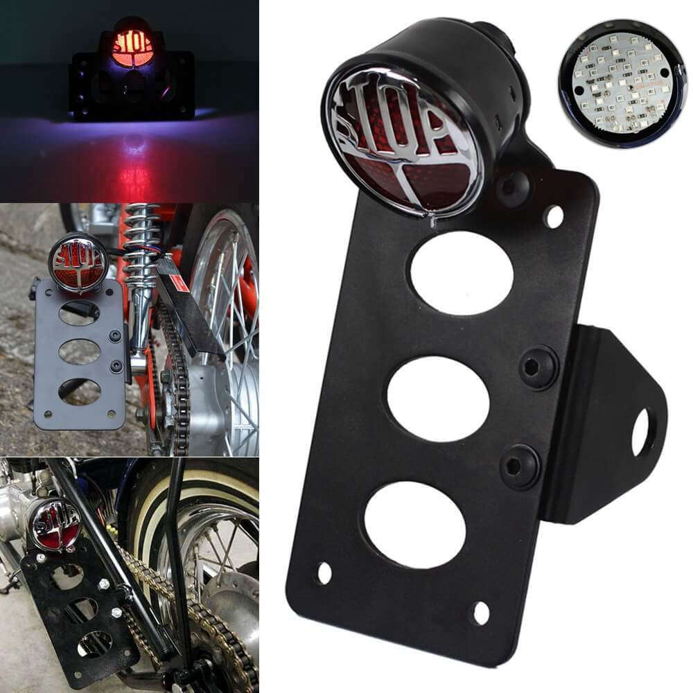"3/4"" Motorcycle Side Mount LED Lucas Type Round ""Stop"" Taillight Tail Light License Plate Bracket For Harley Chopper Bobber Vintage - pazoma"