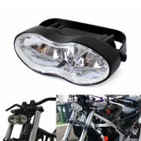 Motorcycle Double Oval Twin Headlight Cateye Retro Wave Head Lamp Custom Streetfighter Cafe Racer Bobbers Chopper H3 2 x 55w - pazoma