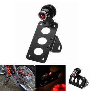 Universal Motorcycle Horizontally Side Mount License Plate Brake Stop Light Taillight & Bracket Old School Choppers Bobber Cafe Racer - pazoma