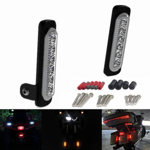 Motorcycle B6 DRL Daytime Running Lights With Universal Fender Mounting Kit Auxiliary LED Taillight Burst Flash Brake light - pazoma
