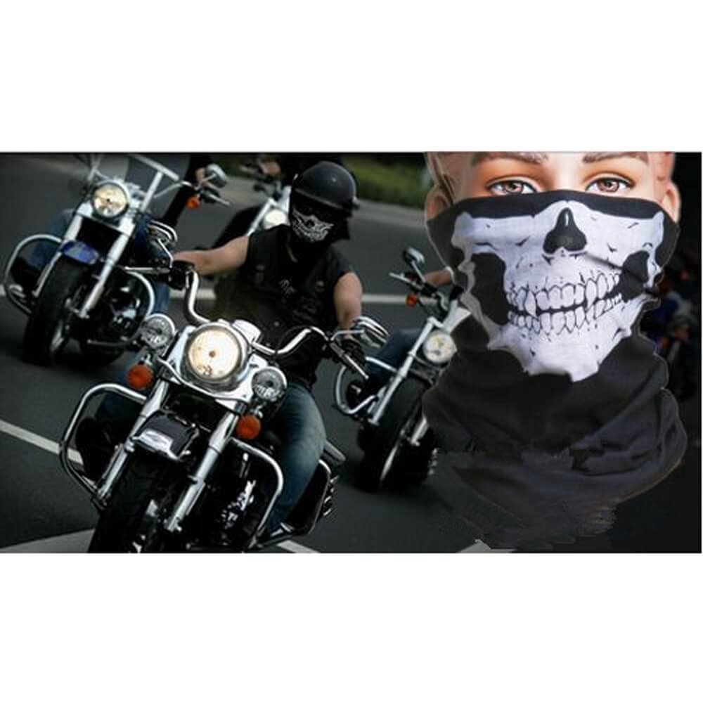 Motorcycle 3D Skull Sports Guard Cover Neck Warm Full Face Guard Cover Windproof Bicycle Cycling Outdoor Dustproof Black - pazoma