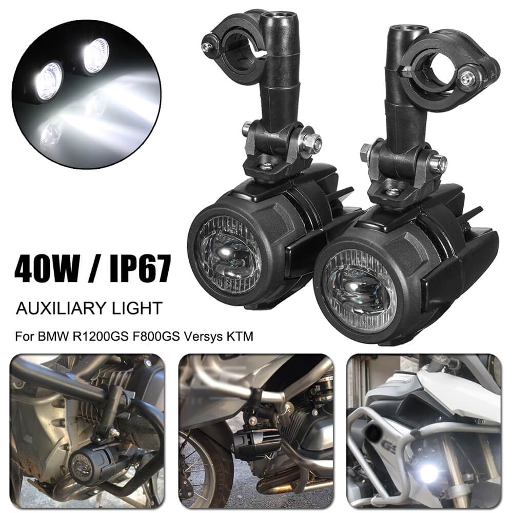 Motorcycle LED Auxiliary Fog Light Aluminum Alloy Safety Driving Spot Lamp For BMW R1200GS ADV F800G Versys KTM - pazoma