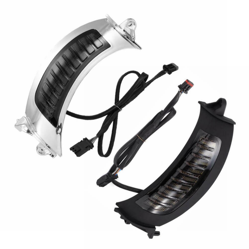 Harley Road Glide 15-Up LED Headlight Bezels Side Marker White DRL w/ Turn Signals Light Lamp Shark Nose Fairing Lighted Vent Trim (Pair) - pazoma