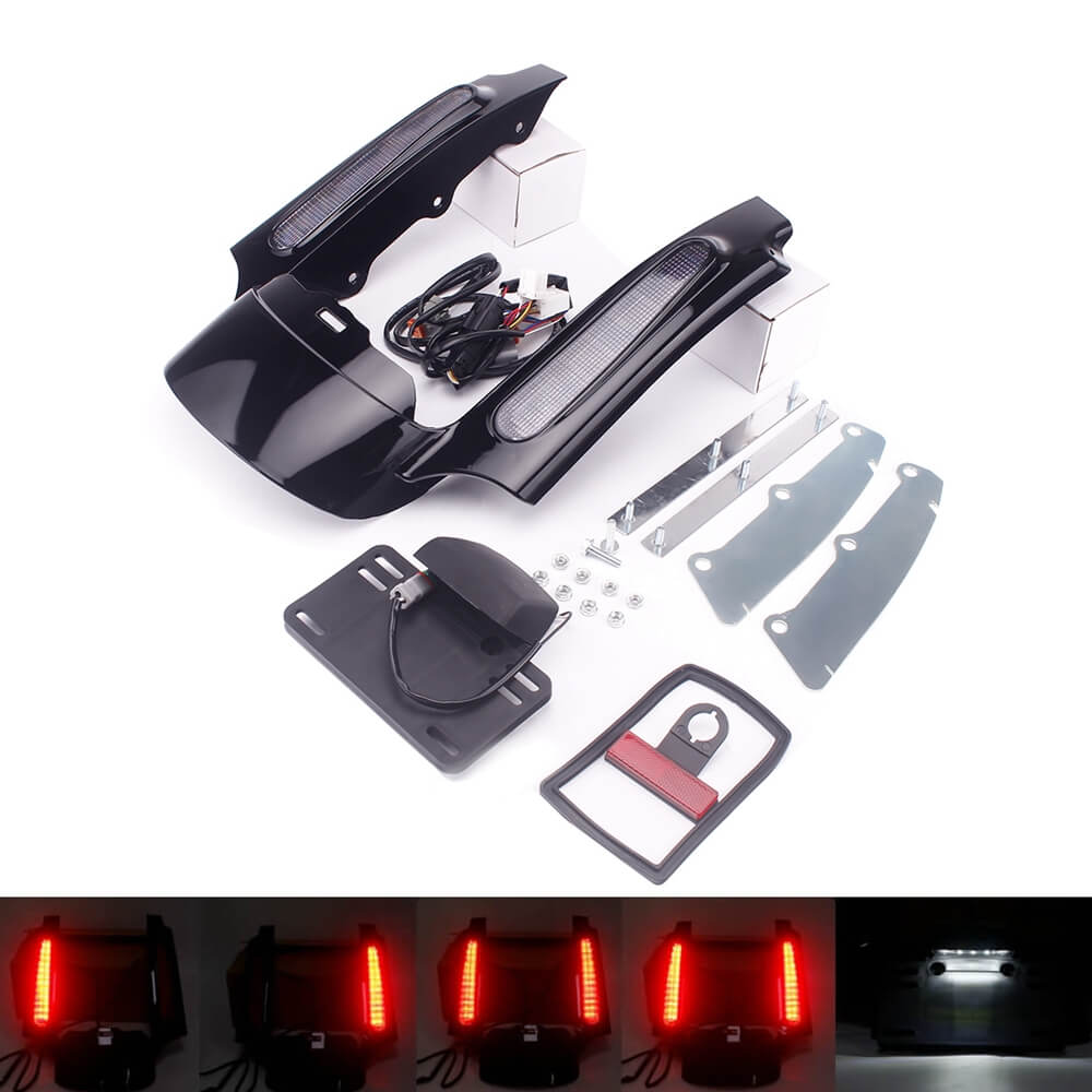 Rear Fender Extension Fascia W/LED Turn Signal Brake Tail Light For Harley Touring Road King CVO Ultra Classic Electra Glide Street 09-13 FLHR - pazoma