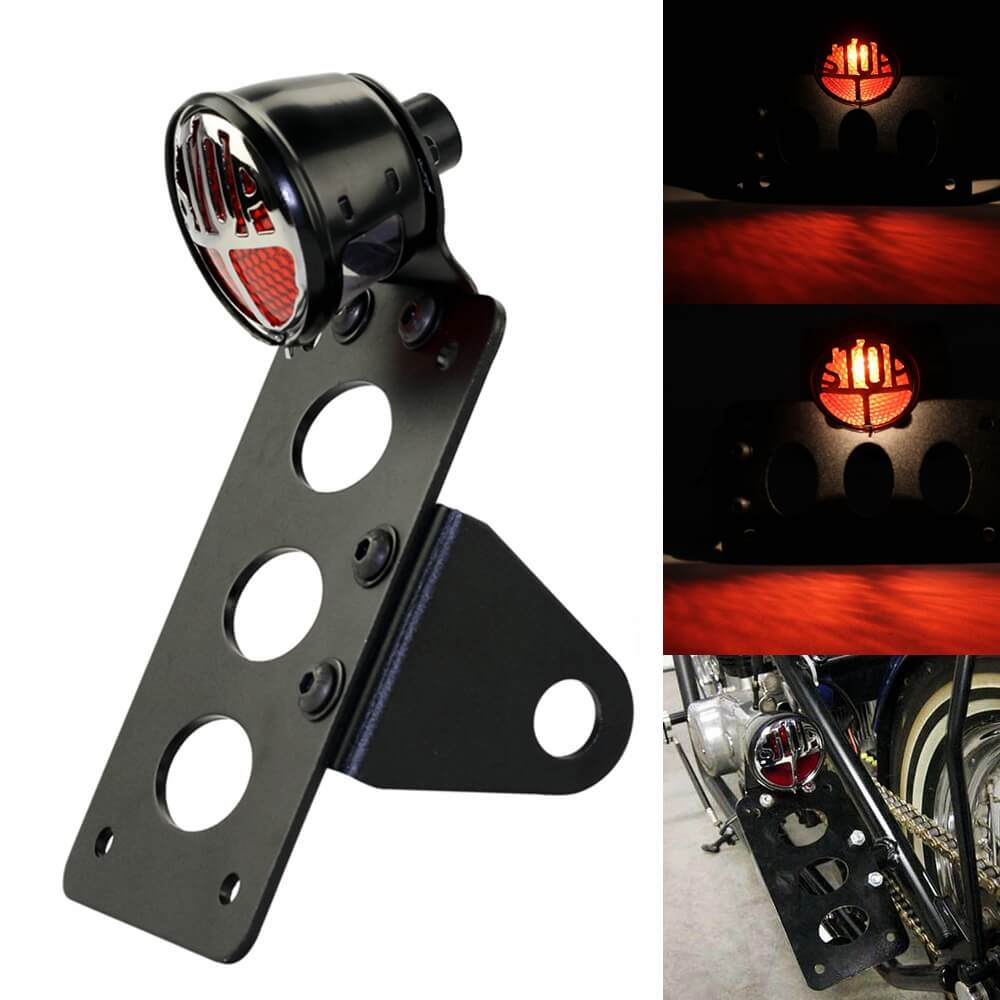 "3/4"" Motorcycle Tail Light License Plate Bracket Fit for Harley Chopper Bobber Lucas Type Round ""Stop"" Taillight Lamp Vintage - pazoma"