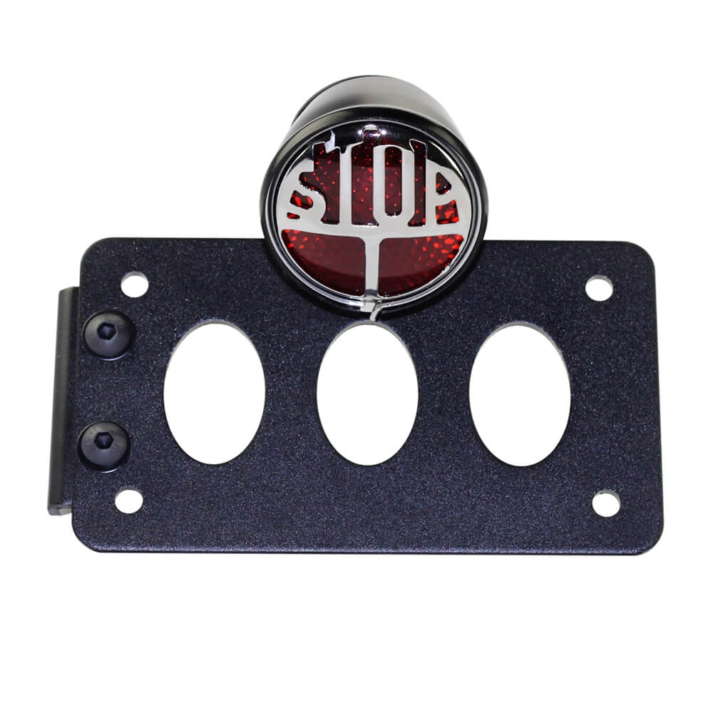 "Motorcycle Side Mount Lucas Type Round ""STOP"" Taillight License Bracket Holder License Plate For Harley Bobber Chopper - pazoma"