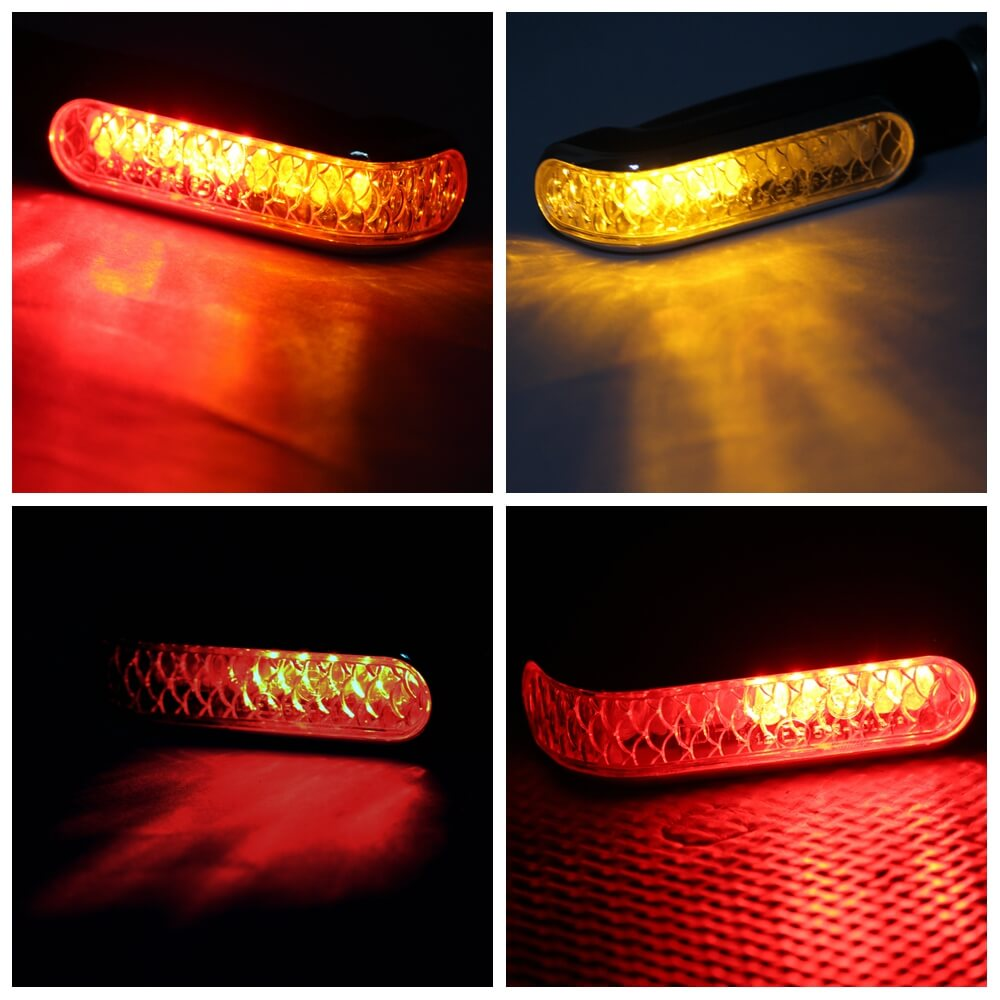 2PCS Motorcycle LED Double Color Turn Signal Indicators Light Blinker Taillight Brake Lamp Universal Amber + Red - pazoma