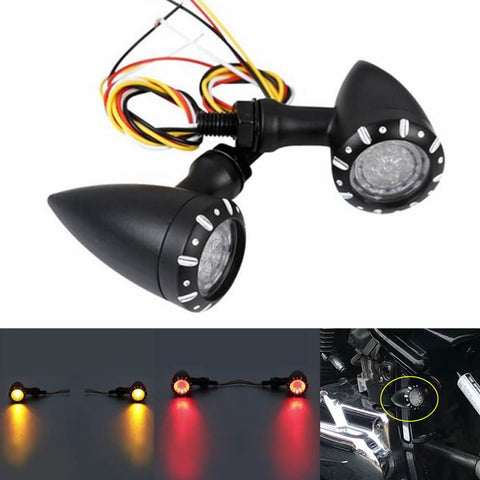Motorcycle Universal 3 in 1 LED Turn Signals w/Tail Light  Brake Blinker Turn Indicator Light Harley Chopper Bobber Cafe Racer Custom Cruisers - pazoma