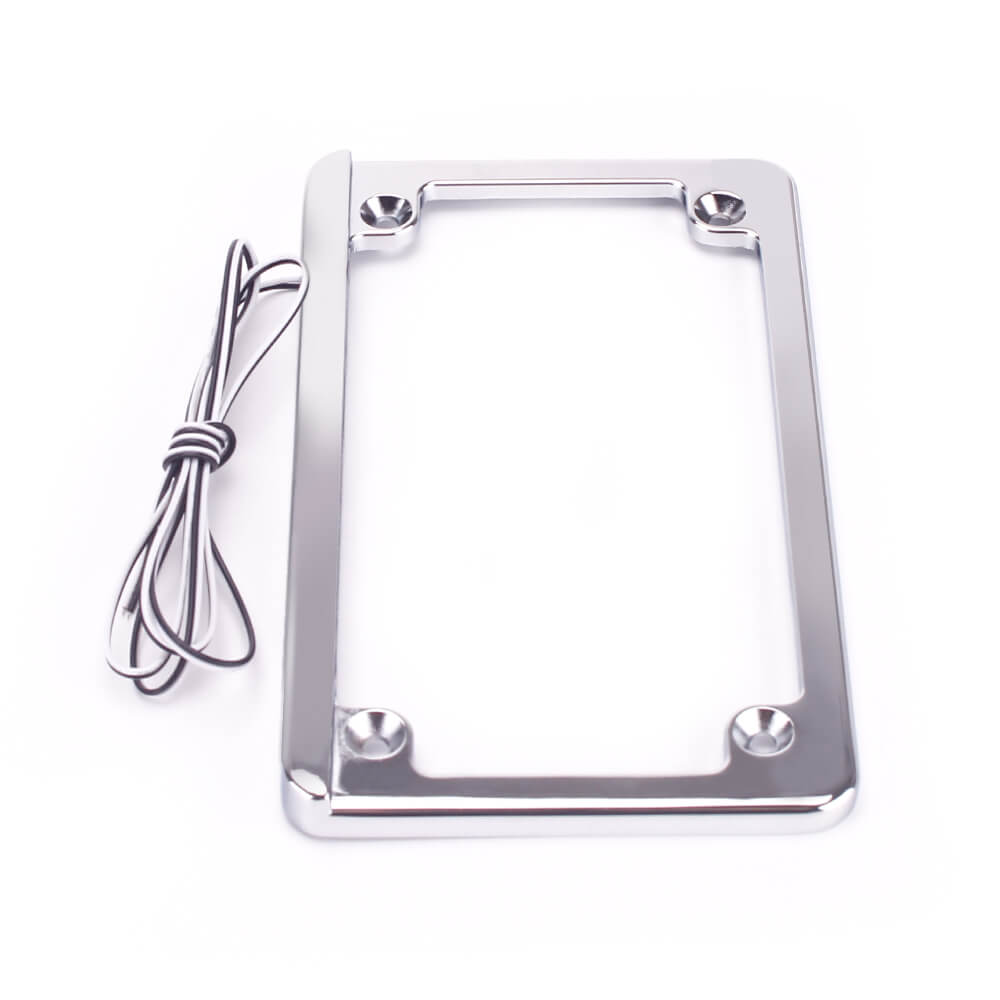 "Motorcycle Universal 4x7"" Flat Style Hidden LED Board License Plate Frame - pazoma"