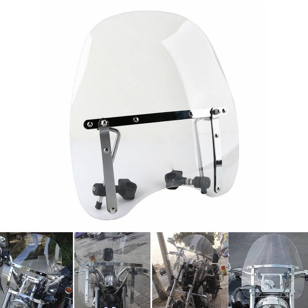 "Highway Custom Motorcycle 7/8"" & 1"" Handlebar Deflector Cross Bones Windscreen Windshield Screen Honda Suzuki Yamaha Harley Kawasaki Triumph - pazoma"