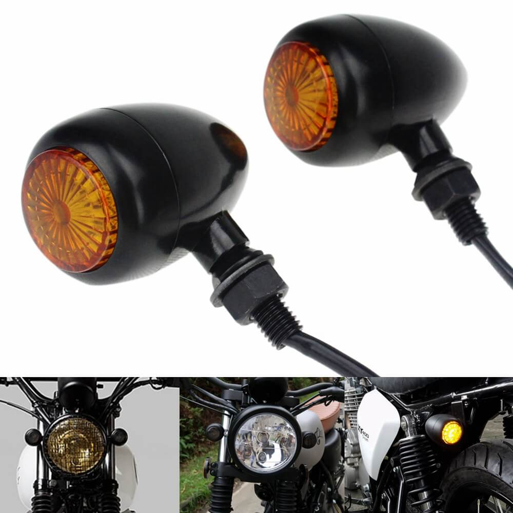 Pair Amber LED Bullet Billet Turn Signal Indicators Light Blinker Universal Honda Suzuki Kawasaki Yamaha Harley Cafe Racer Bobber Chopper - pazoma