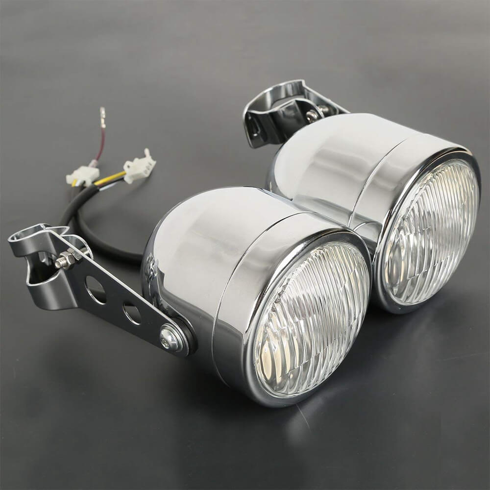 Motorcycle Twin Front Headlight Double Dual lamp W/ Bracket For Harley Street Fat Boy Dual Sport Dirt Bikes Street Fighter Cafe Racer - pazoma
