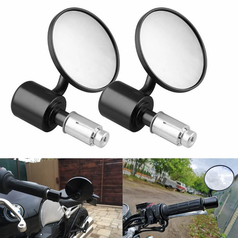 "1 Pair 7/8"" Motorcycle Rearview Side Mirror Round Handlebar Bar End Rear View Mirrors Bike Motorbike For Honda Kawasaki Yamaha Suzuki Ducati - pazoma"