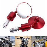 "1 Pair 7/8"" Motorcycle Rearview Side Mirror Round Handlebar Bar End Rear View Mirrors Bike Motorbike For Honda Kawasaki Yamaha Honda Suzuki - pazoma"