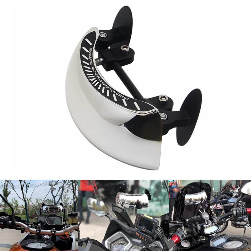 180° Blind Spot Eliminator Scanner Mirror For Honda Yamaha Suzuki Kawasaki Harley Motorbike Scooter UTV Windshield Screens Convex Center Mirror - pazoma