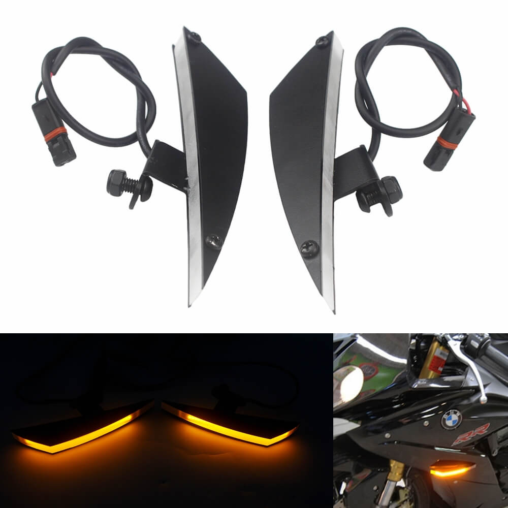 BMW S1000RR 2010-2019  Amber LED Front Flush Mount Turn Signals Billet Black Plates HP4 2013-2014 - pazoma