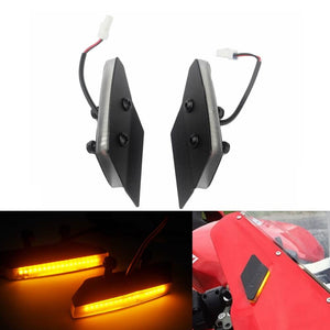 Ducati 959 1299 Panigale Mirror Block Off Amber LED Turn Signals Billet Black Plates Front - pazoma