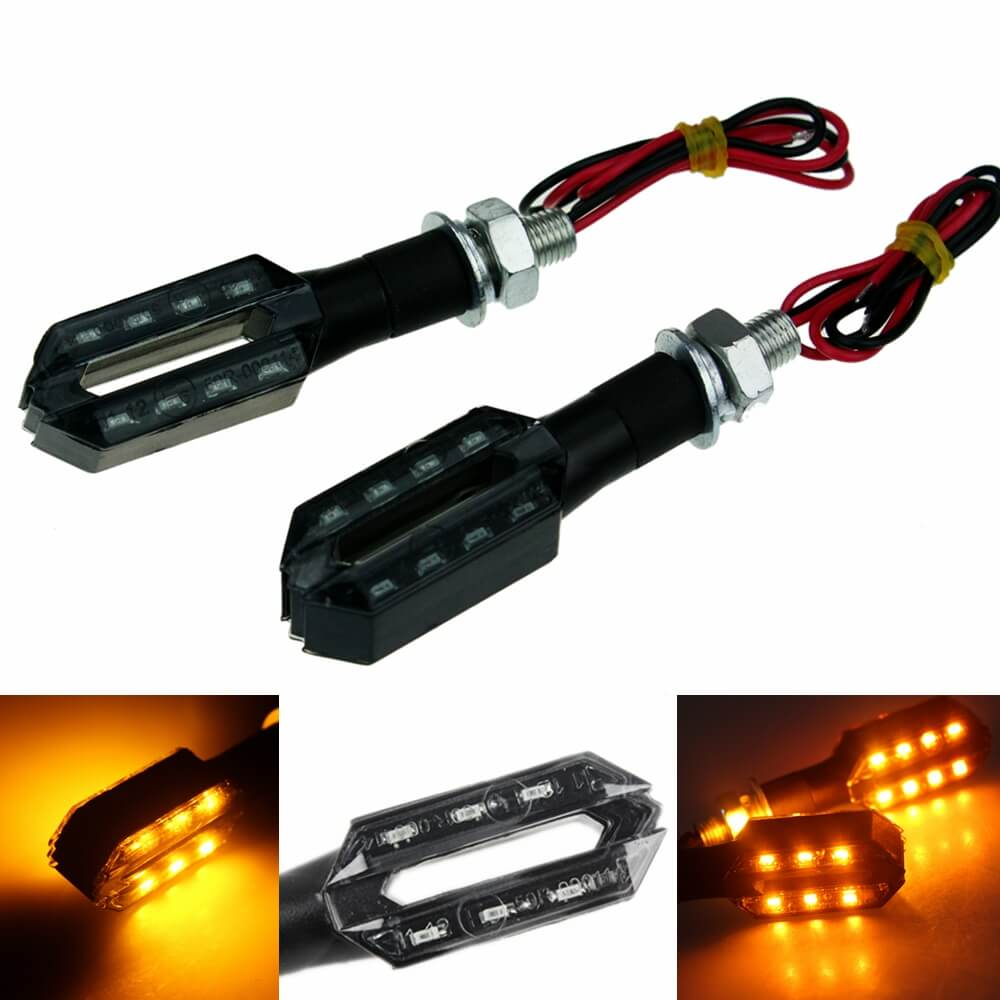 Motorcycle Double Side LED Turn Signal Indicator Light Ultra Bright 12V Amber Blinker For Honda Yamaha Kawasaki Suzuki Aprilia Benelli Ducati - pazoma
