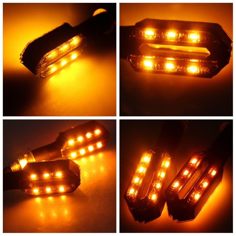 Pair Of Front Universal Motorcycle Double Side LED Turn Signal Indicator Light Ultra Bright 12V Amber Blinker - pazoma