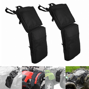 ATV UTV 4-Wheeler Universal Big Horn Fender Bag Black Waterproof Cargo Luggage Storage Pack Hunting Side Bags Zipper Pockets 600D - pazoma